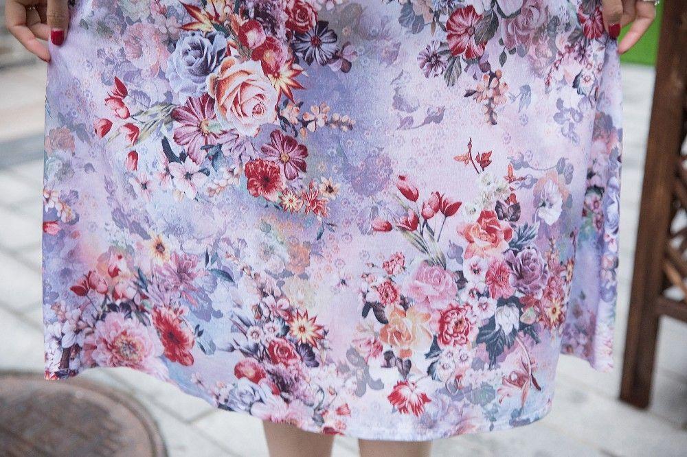L-4XL 2018 Women's Summer Dresses Middle-Aged Fashion Print Loose Dress Casual Short Sleeve Plus Size long sundress Vestidos