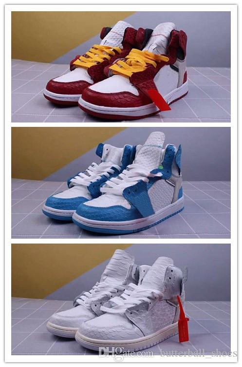 New Style Python White X 1 Chicago Varsity Red Men Casual Shoes Top Quality  off 1s UNC Powder Blue Women Designer Sneaker With Box