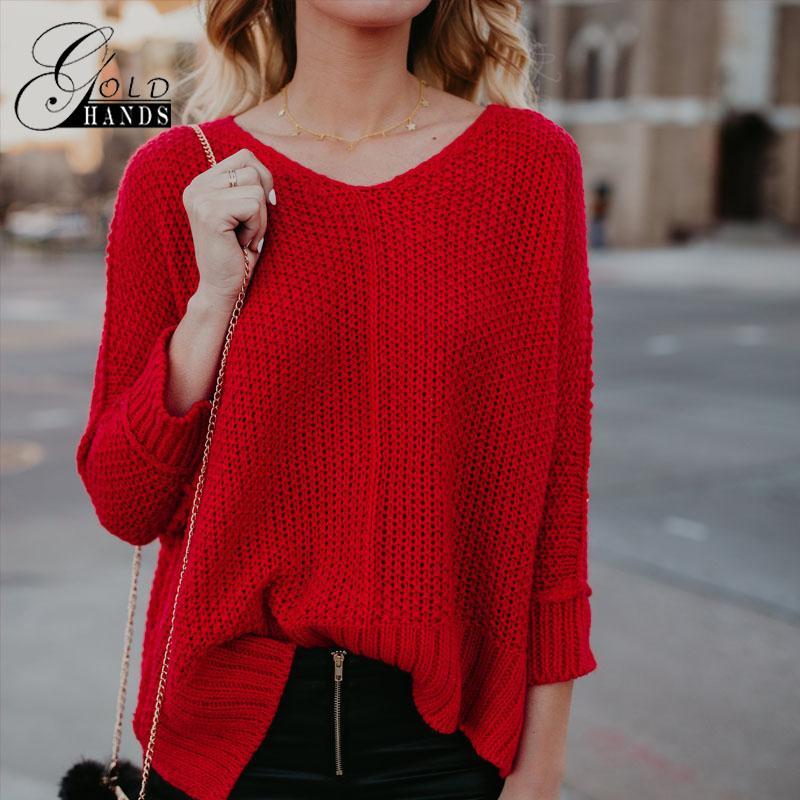 b88921878c Compre Mulheres Camisola Primavera Blusas Finas Vermelhas Mangas Compridas  Soltas De Malha Moda Casual Pullovers Feminino Com Decote Em V Sólidos  Jumpers De ...