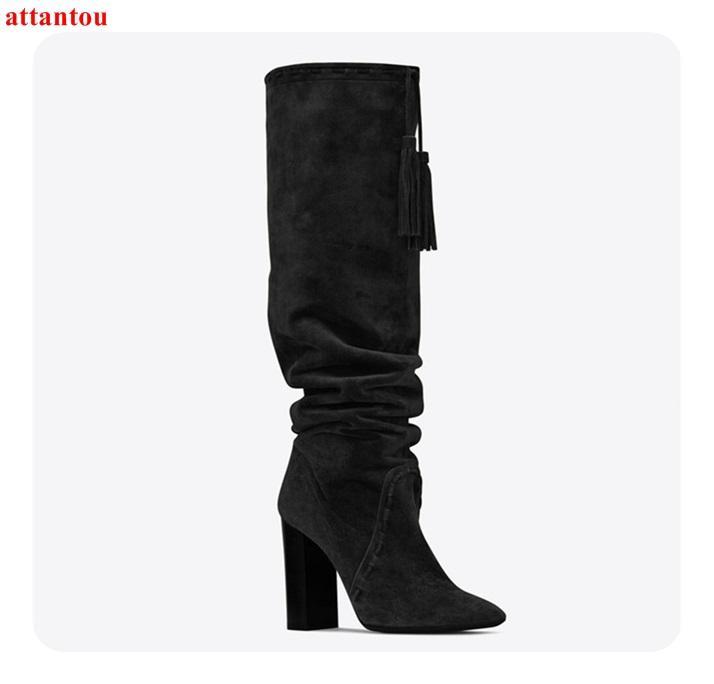 Compre 2018 Elegante Mujer Negra Botas Largas Gamuza Gamuza Plaza Alta  Talón Bota Hasta La Rodilla Otoño Invierno Moda Mujer Zapatos De Vestir A   137.75 Del ... 987415f47ad5