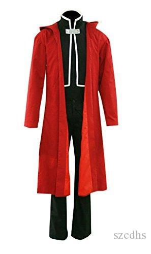 Traje de Cosplay Edward Elric Black terno Red Cape