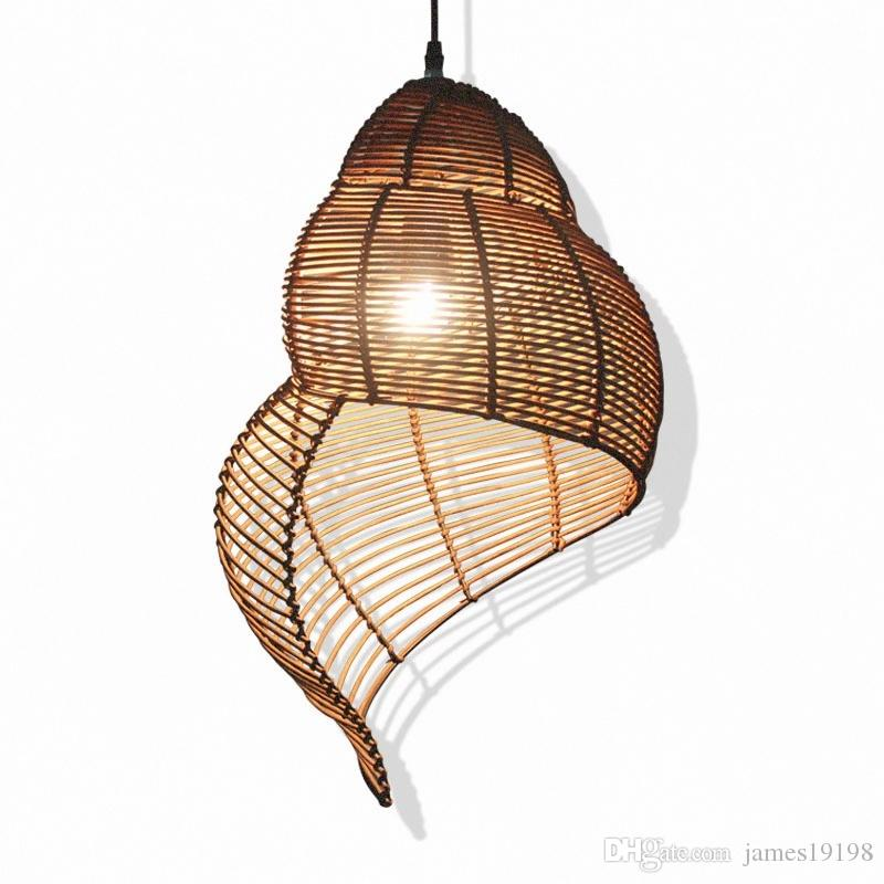 Rattan Conch Bamboo Weaving Led Pendant Lamps Black Pendant Light