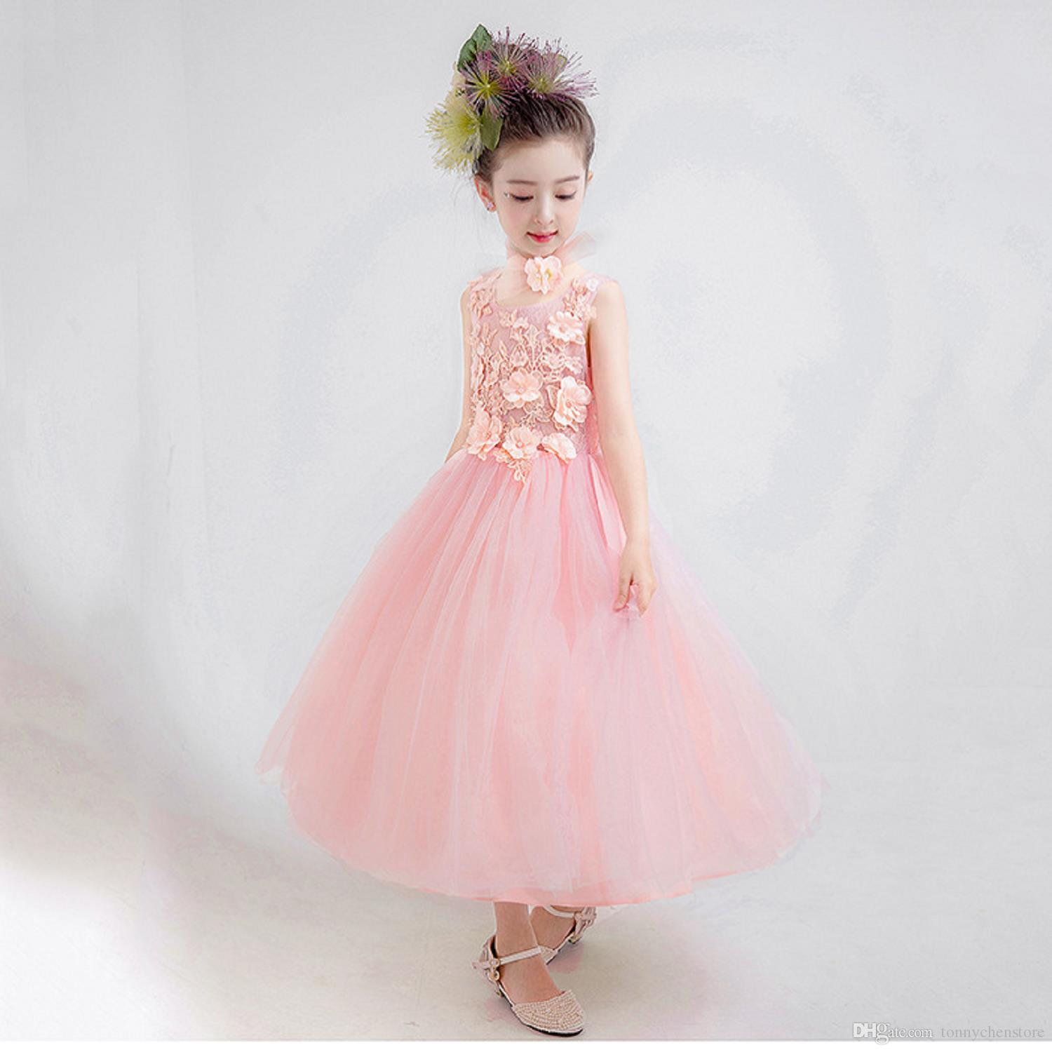 f7f81506bcf 2018 Fashion Applique Children s Dress for Girls with Flower Baby Bush  Evening Wedding Ball Gown Prom Princess Formal Occasion Dress for Gir