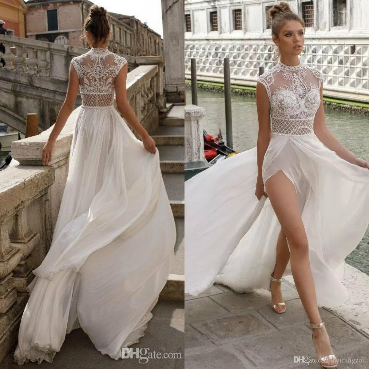 32095a131cbf Discount Julie Vino Beach Wedding Dresses A Line Sexy High Split Cheap Deep  V Neck Illusion Lace Applique Bohemian Bridal Gowns Robe De Mariée One  Shoulder ...
