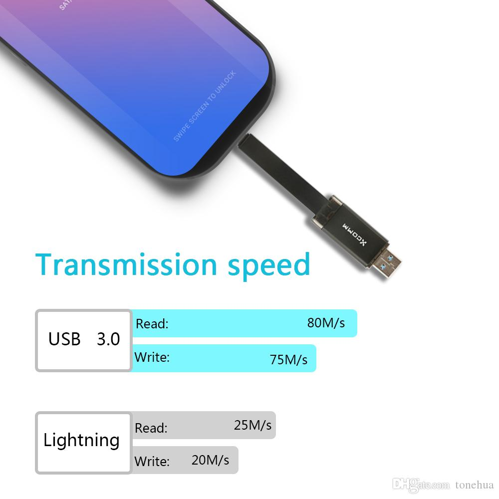 4-in-1 USB 3.0 Portable Card Reader with Charging Support UData Flash Drive USB Micro Type-C SD TF Card Reader Adapter Lightning Connector