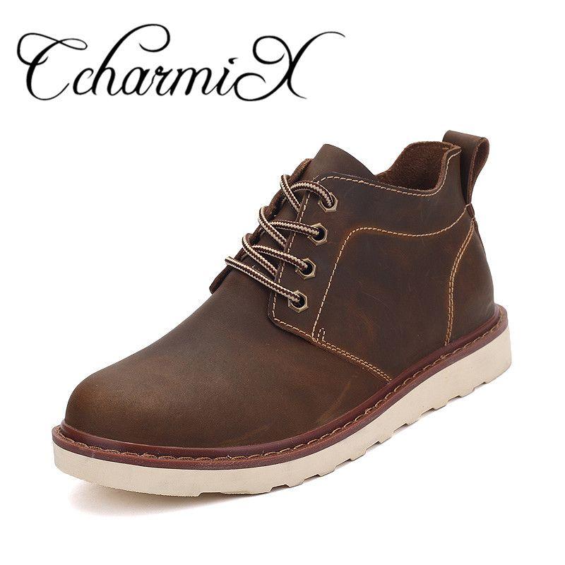31463a0823e CcharmiX Mens Work Shoes Split Leather Spring Autumn Waterproof Boots Men  Fashion High Top Men Shoes Safety Footwear Man