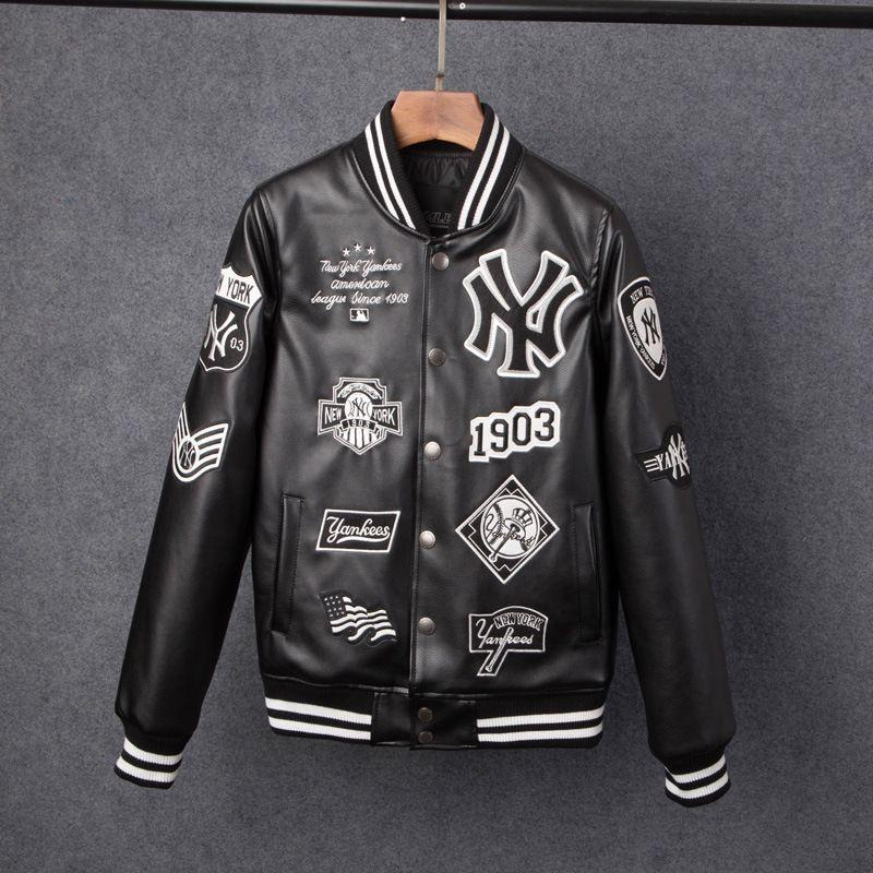 Men S Jacket Trend Brand Casual Men New York Pu Jacket Fashion Hip Hop  Embroidery Baseball Ny Jacket Sweatshirt Jackets Leather Denim Fur Jacket  From ... 6b8b6698fa150