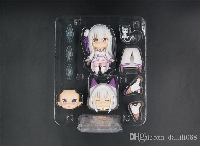 LilyToyFirm Re:Life in a Different World From Zero 751# Q Version Emilia 10cm PVC Action Figure Cute Model Gifts