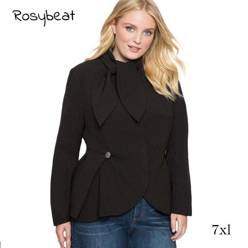 3d6c1373423 Women Suit Jacket Plus Size 6XL 7XL Black Blue Shirts Autumn Office Lady  Slim Full Sleeve Shirts Tie Simple Fashion Female Tops Italian Leather  Jackets ...