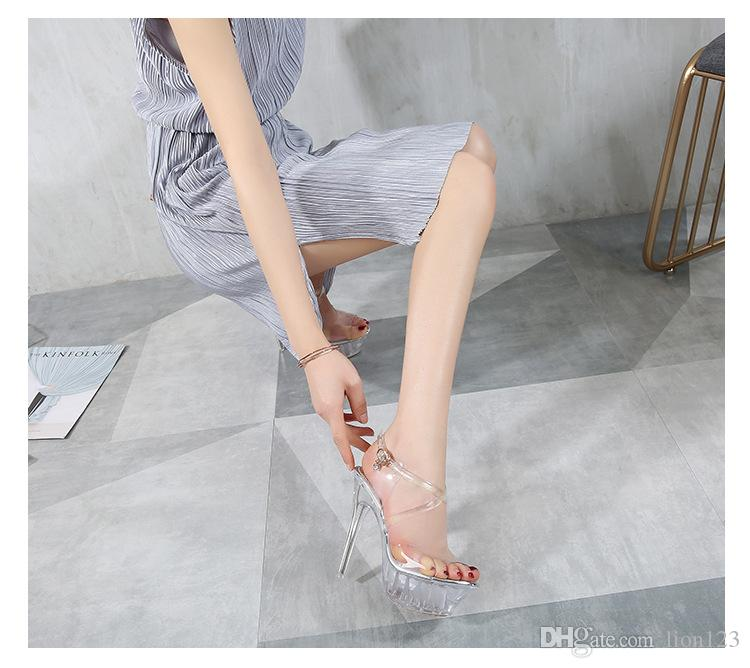 e1cdcacdc4ea11 Summer Fashion Beading Chain Crystal Shoes Clear Transparent High ...