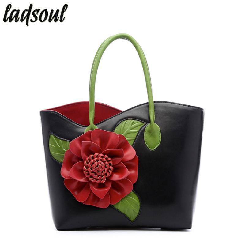LADSOUL Popular Floral Women Handbags Big Flower Luxury Female Shoulder Bag  Good Quality Elegant Women Bag Tote Bolsa A753 G Black Leather Handbags  Cute ...
