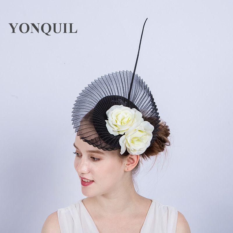 88fe5f9798e Sinamay Black Bridal Fascinator Base Hat Headband With Ivory Silk Flower  High Quality Hair Clip Ladies Wedding Headpiece Cocktail Hat SYF140 Wedding  Dress ...