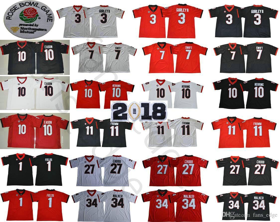 5730c6da1 2018 Ncaa Georgia Bulldogs 1 Justin Fields 3 Roquan Smith 7 Dandre Swift 10  Jacob Eason 11 Jake Fromm 2018 Rose Bowl Championship Jersey From  Fans edge