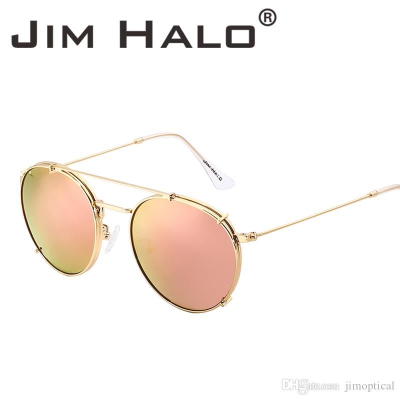 b4ecca4d1d Jim Halo Round Polarized Clip On Sunglasses Metal Frame Mirror Circle Lens Men  Women Retro Vintage Steampunk Sun Glasses Oculos De Sol Gafas Serengeti ...