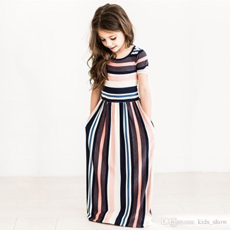 Fashion Cute Baby Kid Girls Dress Hit Color Striped Dress Children Beachwear Dress Casual girl Ankle-Length Dresses