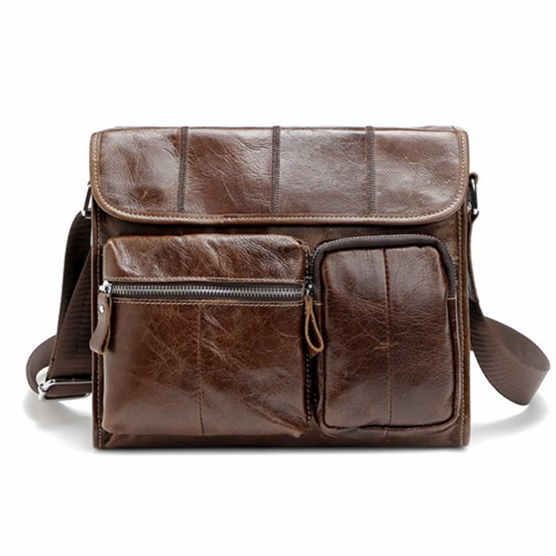 Large Capacity Men Bags Genuine Leather Men Shoulder Messenger Bags Oil Wax  Leather Crossbody Bag Vintage Man Bag WBS408 Wallets For Women Ladies  Handbags ... 6452423e4f