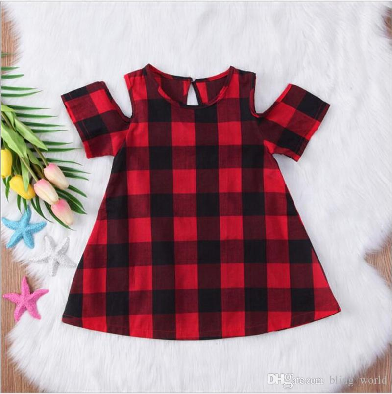 06c416fa3 2019 Girls Dresses Baby Red Black Grid Dresses Girls Plaid Princess Dress  Toddler Tartan Casual Dress Off Shoulder Dress Kid Clothing YL333 From  Bling_world ...