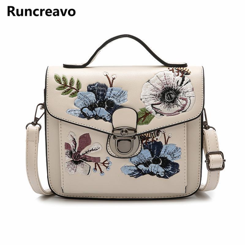 3016b32dc8e Fashion Floral Women Crossbody Bag Flap Embroidery Messenger Bag Brand  Ladies Leather Handbags Lock Tote Bags Sac A Main Vintage Wholesale Purses  Designer ...