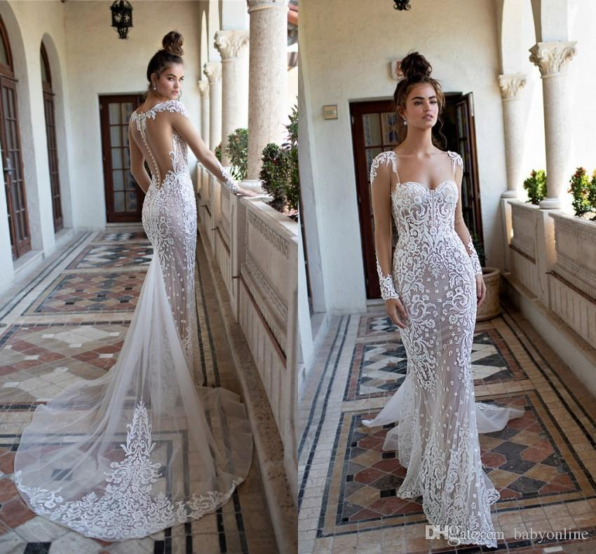 Stunning Berta Lace Mermaid Wedding Dresses 2019 Sexy Illusion Bodice Sheer  Long Sleeves Appliques Fitted Backless With Buttons Covered Robe Modern  Wedding ... 9d226f026f7f