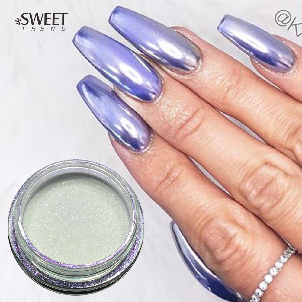 1box 1g Purple Gold Silver Mirror Nail Glitter Powder Gel Polish Chrome Pigment Dust Shinning Art Decorations La639 Designs