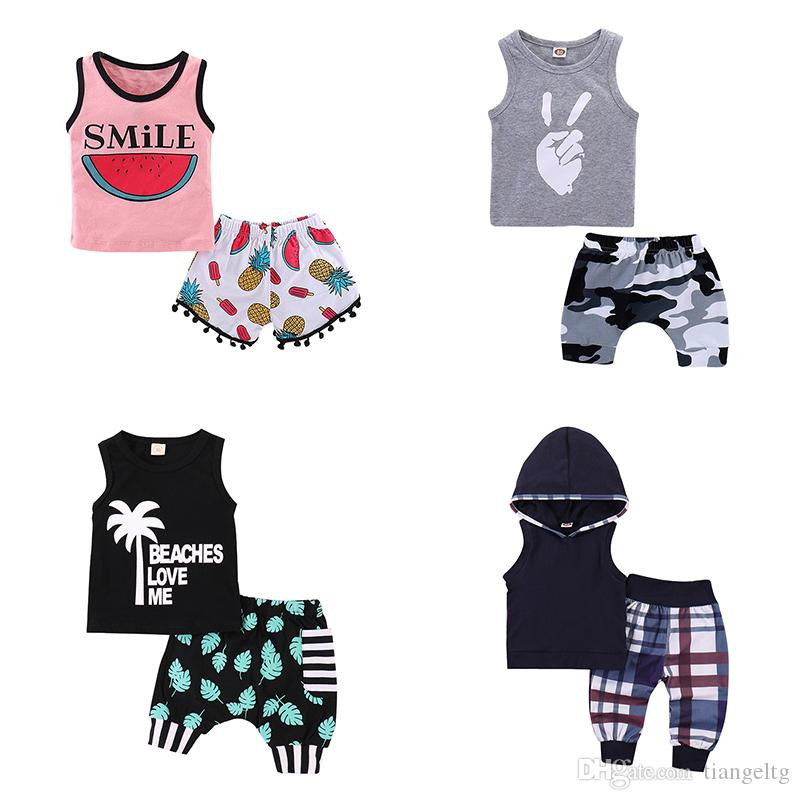Kids Summer Outfits 6 Designs Boy Girls Clothing Sets Kids Clothes Suit Printing Cartoon Boys Shirt Shorts Girls Rompers Shirt Shorts 1-3T