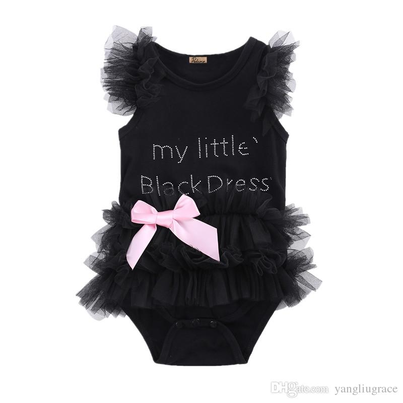 9122e80f5a71 Baby Girls Rompers Infant Cute Kids Newborn Bow Embroidered Little Black  Dress Fashion Letter Girl Outfit Clothes Romper Jumpsuit