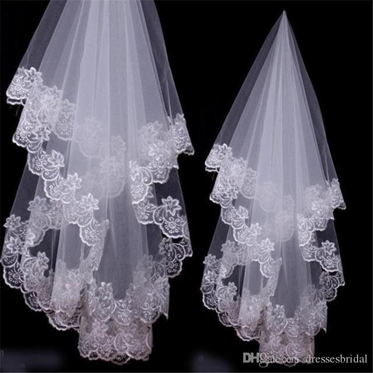 En stock Velo nupcial blanco y marfil Velos de novia de una sola capa Accesorios nupciales Nuevo borde de encaje de moda Velos de tul