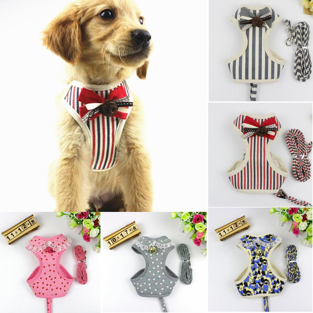 Pet Stripe Lace Harness Dot Vest Leash With Bell Bow Tie Mesh Leashes Set Cat Soft Puppy Strap Collar Breath 5 Colors AAA714