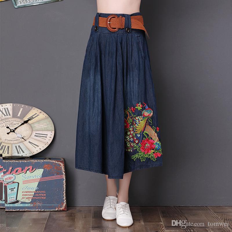 b36045150447a6 Mode Jupe Longue Jeans D été Jupes Brodé Femmes Denim Jupes Ceinture Taille  Haute grande Taille 4XL 5XL Plissée Jupe