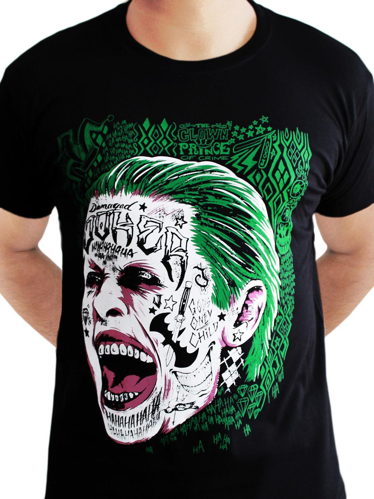 6bdcf2a82853 The Joker Suicide Squad Tattoo Face Dark Knight DC Comics Black Mens T Shirt  Funny T Shirts For Women Funny Shirt From Dhgategiff, $11.01| DHgate.Com