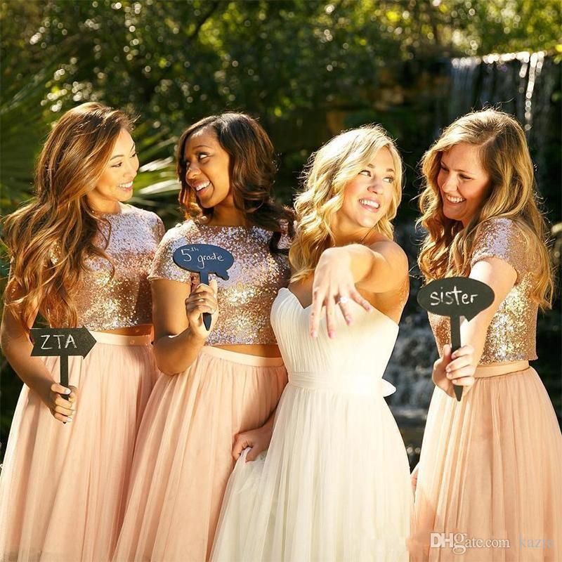 2018 junior Bridesmaid Dresses rose gold blush sequin short sleeves skirt two piece beach wedding guest Dress graduation dress