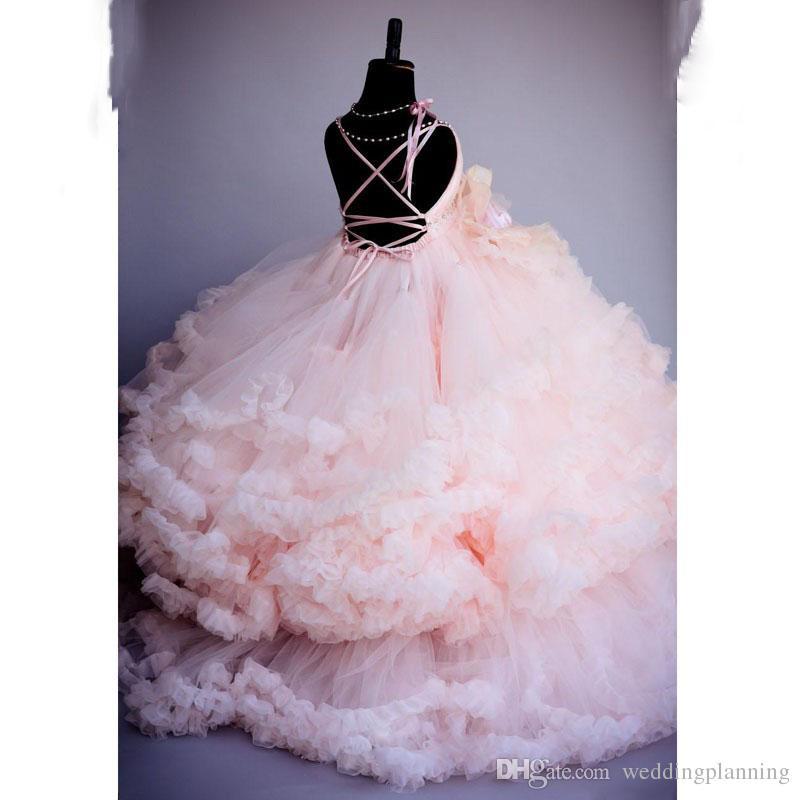 2018 neue rosa blumenmädchen hochzeit tutu party kleider ballkleid schöne blumenmädchen kleid lange organza baby mädchen kleinkind festzug kleider