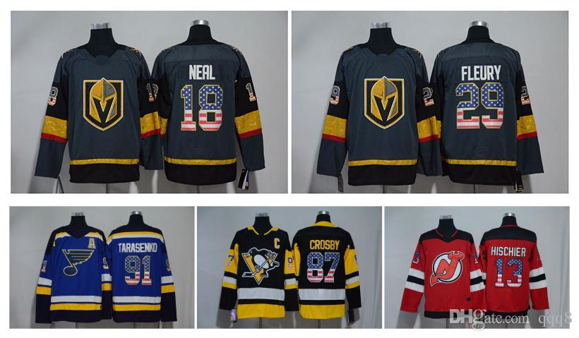 release date: 074bc f5a48 USA Flag Hockey Jerseys VGK Vegas Golden Knights 29 Marc-Andre Fleury 18  James Neal 87 Sidney Crosby 91 Vladimir Tarasenko 13 Nico Hischier