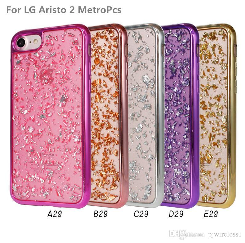 Electroplating Pictures And Drop Glue TPU Back Cover For ZTE Coolpad REVVL  Plus T-Mobile For LG Aristo 2 MetroPcs Verso Cricket A