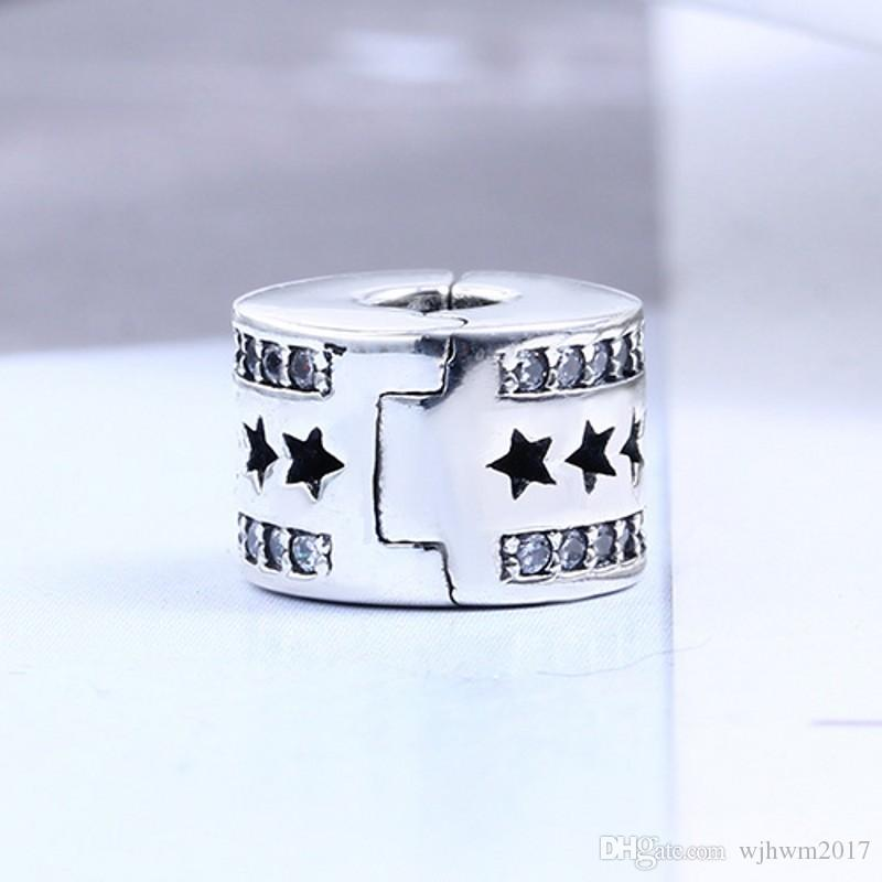Star Path Clip Charm Beads con Crystal Stone Original 925 Sterling Silver Stopper Lock Clip Bead Fit Charms Pulseras joyería de DIY que hace