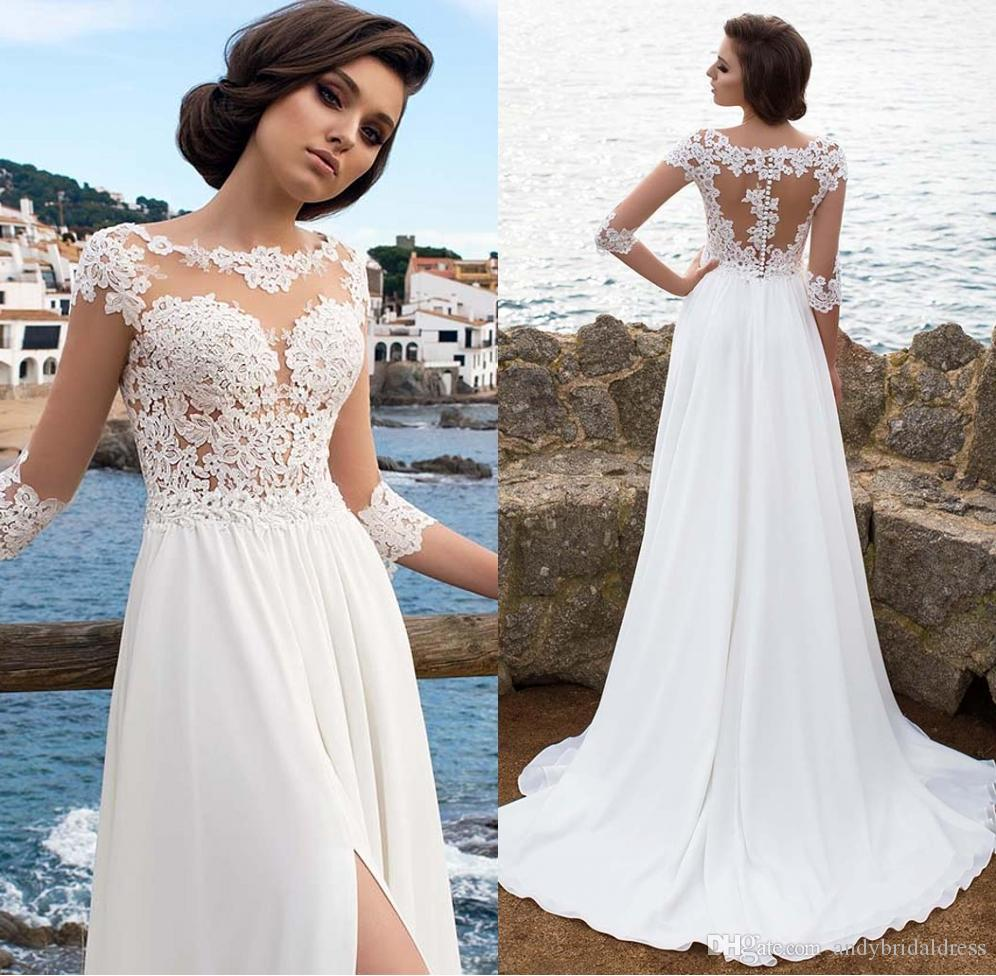 3 4 Long Sleeves Beach Bohemian Wedding Dresses 2019 Chiffon Scoop
