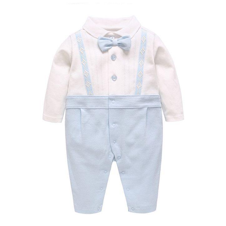 decaa42638 Baby Boys Stripe Romper Fashion Infant Kids Bows Tie Lapel Long ...