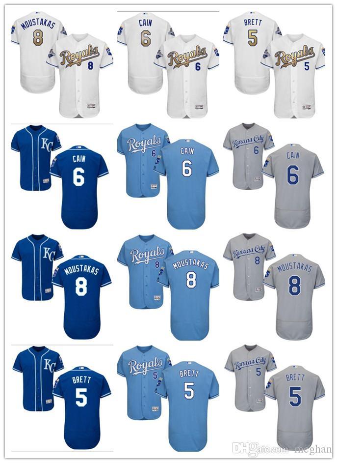 check out b3b68 fcfb4 custom Men Women Youth Majestic KC Royals Jersey #6 Lorenzo Cain 8  Moustakas 5 George Brett Home Nary Blue Baseball Jerseys