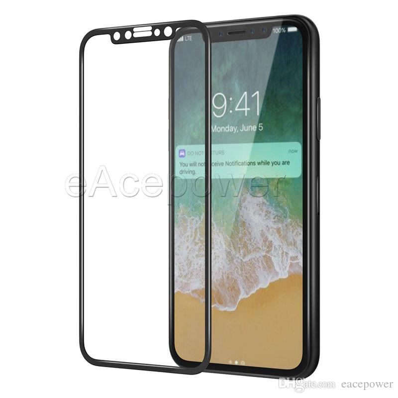 Carbon Fiber Full Screen Tempered Glass 3D Protector For iPhone X 8 7 6 6S Plus with Retail Package