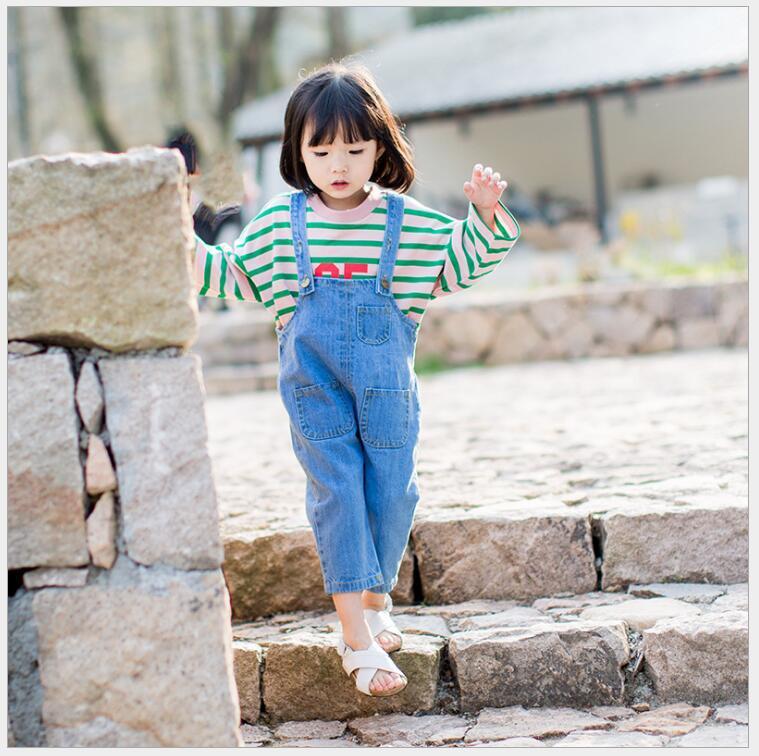 competitive price fe247 01047 set salopette di jeans per bambini per ragazza T-shirt in cotone con tuta a  righe denim 2 pezzi di vestiti per ragazza a custodia di una ragazza