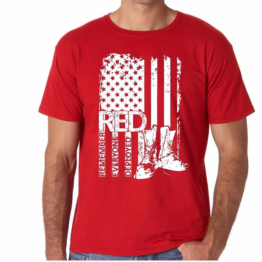 7ac618ec Red Friday Remember Everyone Deployed 100% Prime Cotton With Unique Design  Support Our Troops American Flag Designer White T Shirt Printed T Shirts  Funny ...