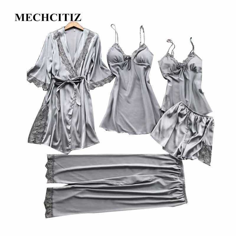 2019 MECHCITIZ 2018 High Grade New Pajamas Sets Silk Autumn Winter Pyjamas  Set Satin Lace Dressing Gowns For Women Sexy Sleepwear D18110502 From  Shen8403 54adbec79