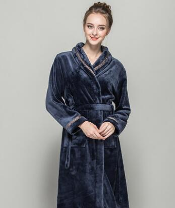 e846db82e69a8 Flannel Bath Robe Female Male Flannel Bathrobes Pajamas Night Gown Robe  Femme Long Sleeve Home Bathrobe Dressing Gowns For Women S1015