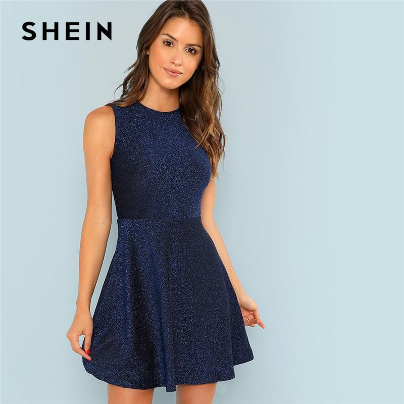 f6c2339fe3 SHEIN Blue Contrast Fit And Flare Sleeveless Glitter High Waist Short Dress  Women 2018 Summer Flounce Sleeve Elegant Dress Dress Patterns Ladies Dresses  ...
