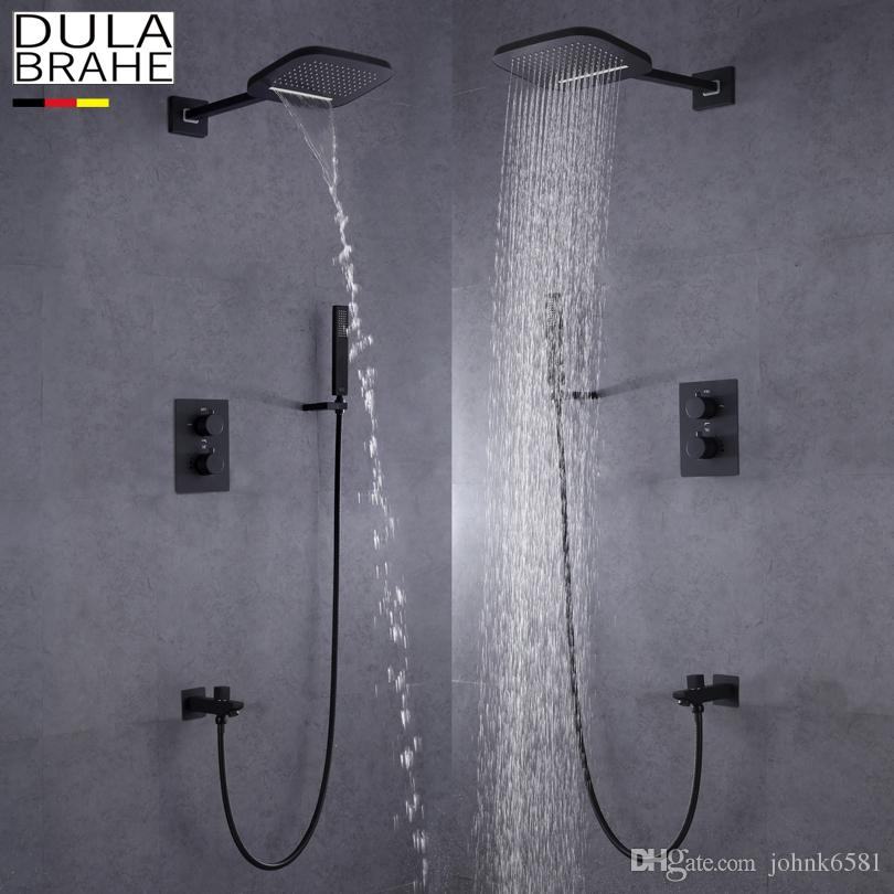 Dulabrahe Bathroom Rainfall Shower Faucet Set Hot And Cold Mixer Tap With Hand Sprayer Blacken Shower Panel Bath Shower Sets Bathroom Fixtures Shower Faucets