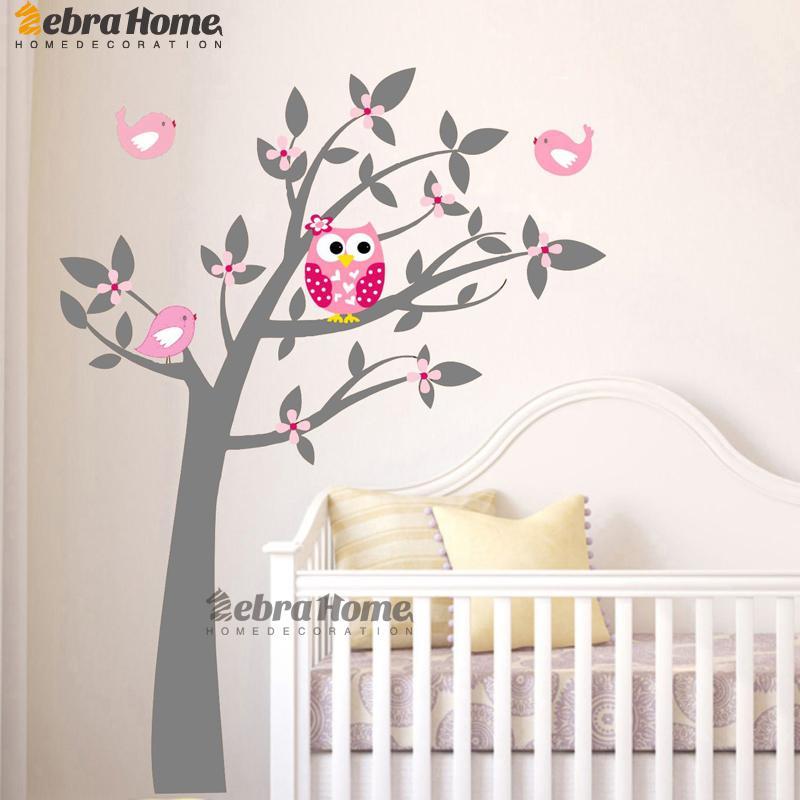 . Owl Vinyl Tree Wall Sticker Decals Mural Wallpaper Children Kids Baby Room  Nursery Bedroom Sticker New Year Tree Home Decoration