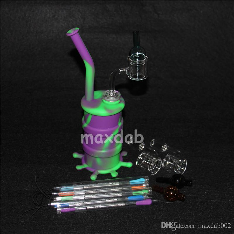 Hookah Silicone Barrel Rigs Mini Silicone Rigs Dab Jar Bongs Jar Water pipe Silicon Oil Drum Rigs with quartz nails and caps