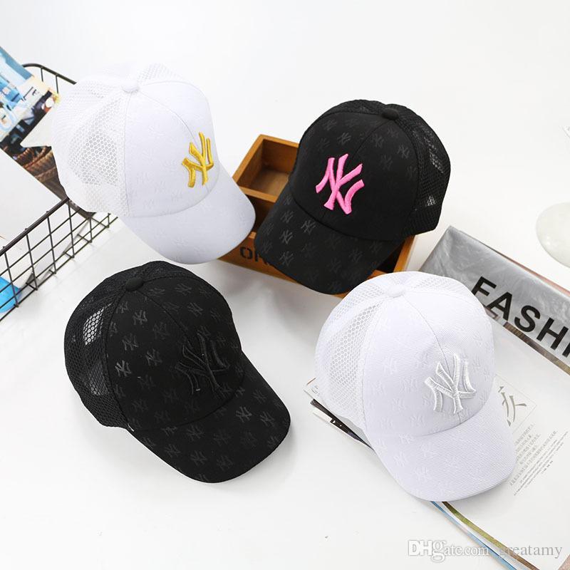 Дети бейсболка вышивка ВС шляпы регулируемая Snapback хип-хоп танец шляпа лето открытый дети белый черный розовый козырек солнцезащитные козырьки
