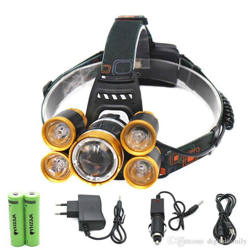 15000Lm LED 헤드 램프 라이트 XML T6 + 4R5 전조등 충전식 18650 헤드 손전등 토치 야영 낚시 사냥 랜턴