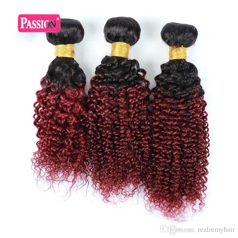 Top Quality 3 Bundles Borgonha Brasileira Ombre Extensões de Cabelo Dois Tons Ombre Vermelho Kinky Curly Brasileira Não Transformados Cabelo Humano Virgem